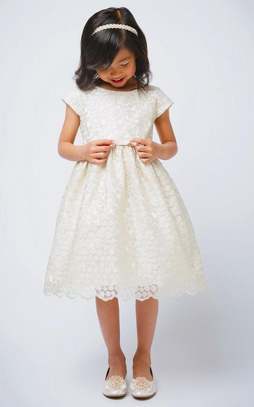 Bowknot Scalloped 3-4-Length Flower Girl Dress