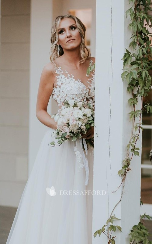 Jewel Lace Tulle Sleeveless Floor-length Sweep Train A Line Wedding Dress