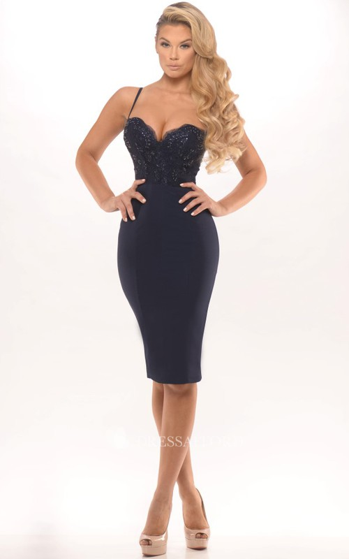 Spaghetti Pencil Knee-length Dress With Appliques