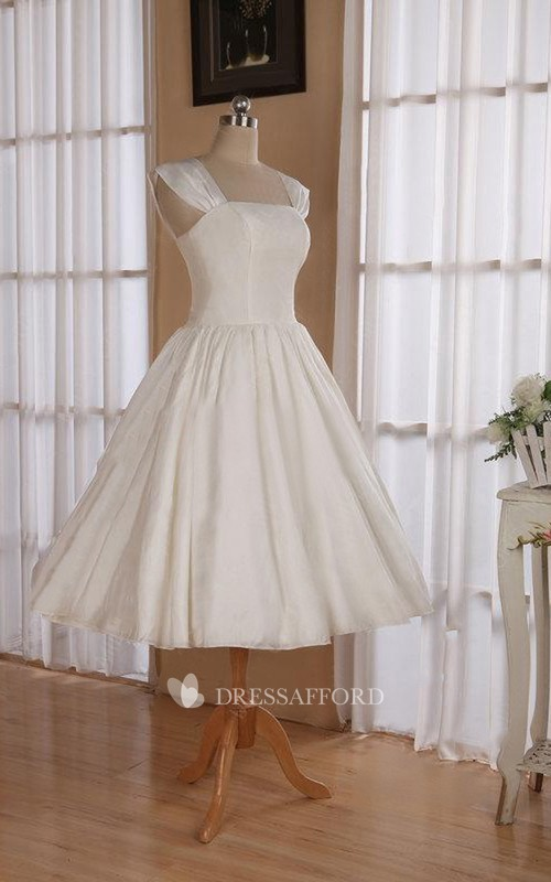 Tea-Length Sleeveless Strapped Wedding Gown