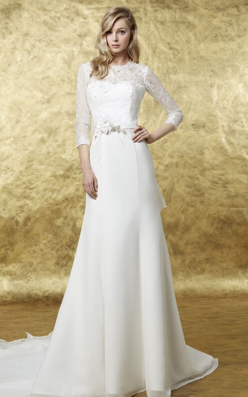 Jewel-Neck Illusion Long Sleeve Sheath Dress With Bow And Lace
