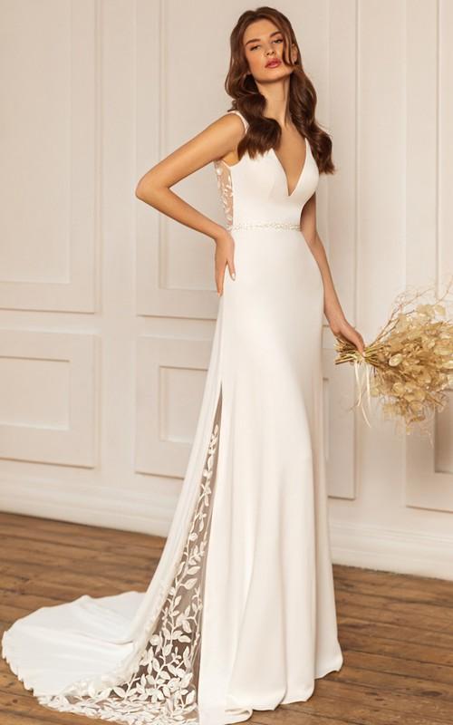 Ethereal V-neck Sheath Satin Floor-length Sweep Train Sleeveless Low-V Back Wedding Dress