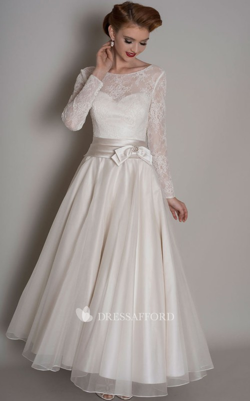 Scoop-neck Illusion Lace A-line Ankle-length Satin Wedding Dress With bow