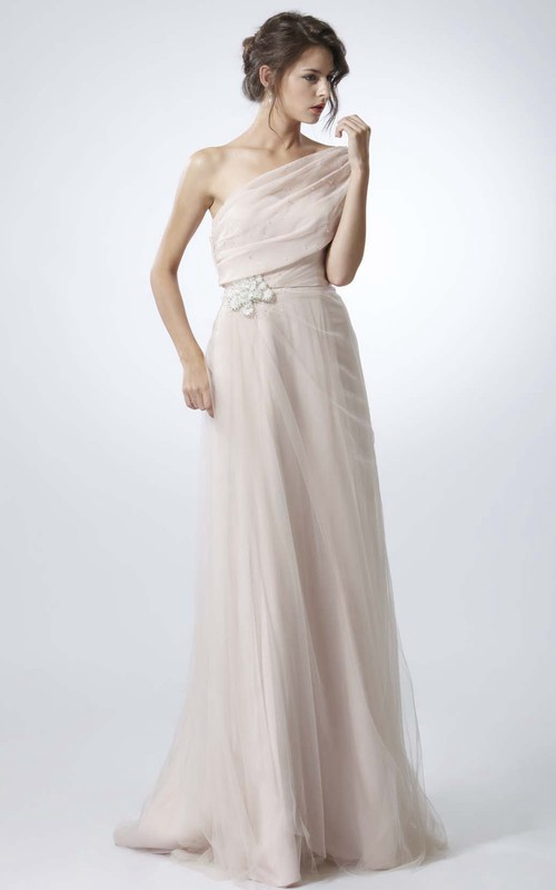 One-shoulder Tulle Side-Ruched Dress With Embellished Waist