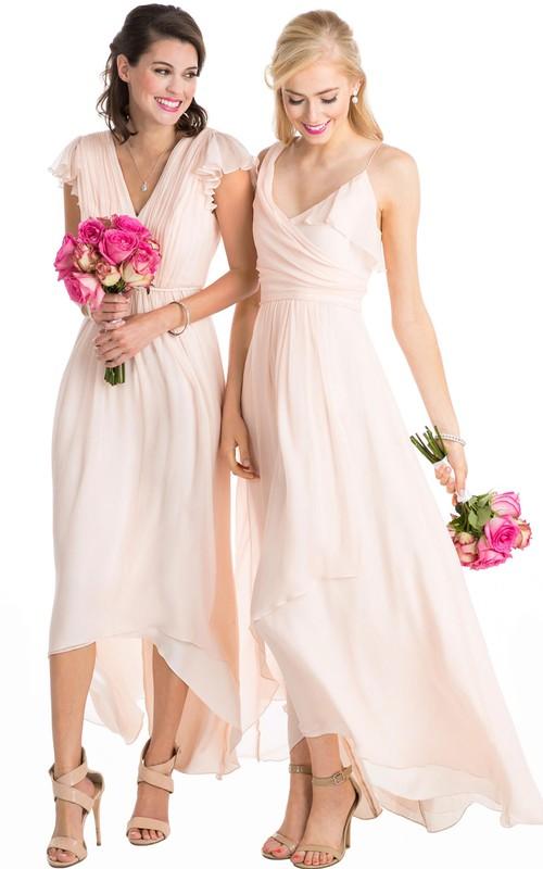 Sleeveless High-low Chiffon Bridesmaid Dress With Ruching