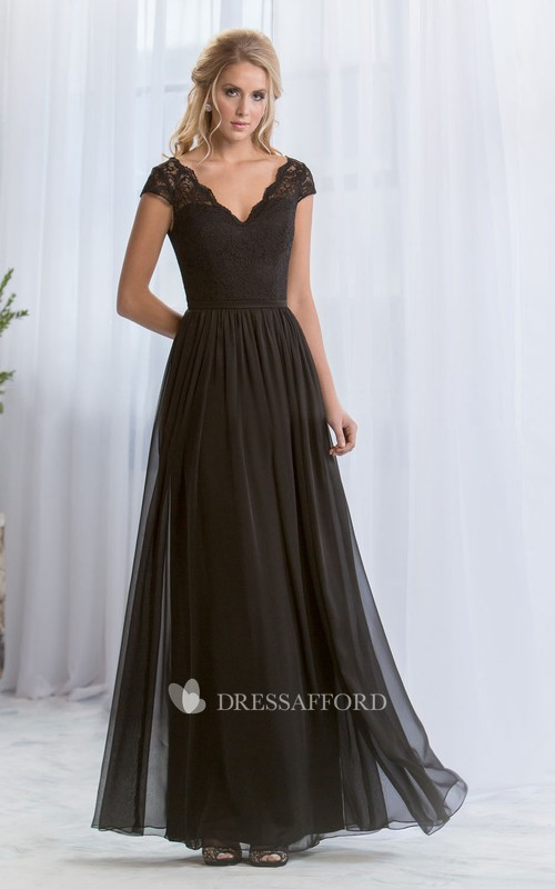 V-neck lace cap-sleeve Chiffon Bridesmaid Dress
