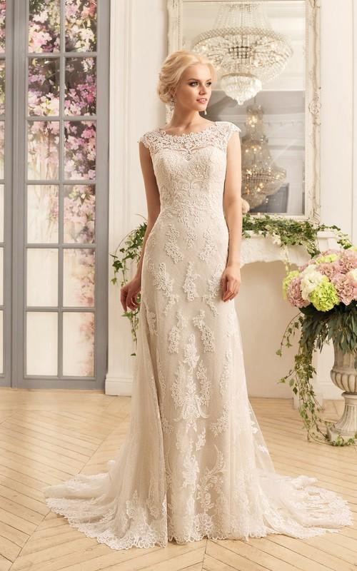 Cap-Sleeve Appliqued Floor-Length Column Lace Dress