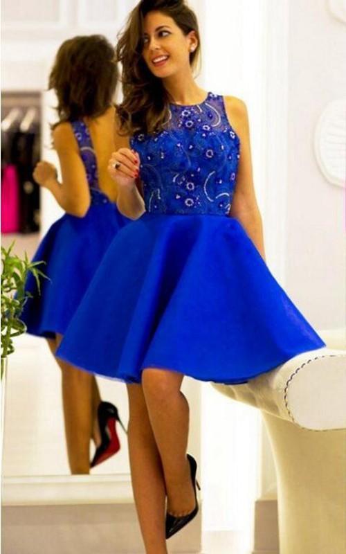 A-Line Satin Jeweled Sleeveless Short-Midi Gown