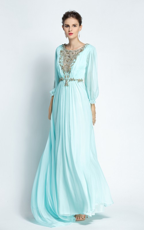 Floor-length Sweep Brush Train A-Line Bateau Long Sleeve Chiffon Prom Dress with Beading and Pleats