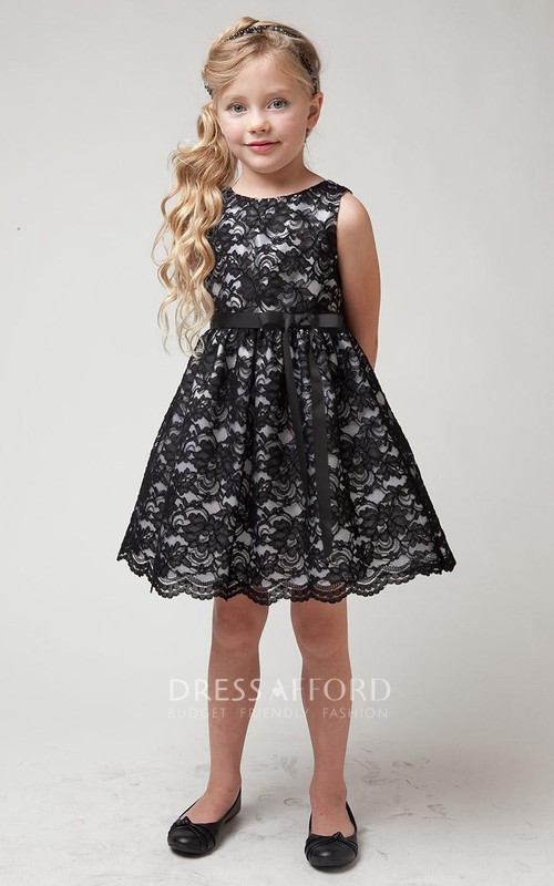 Layered Short-Midi Slit Lace Flower Girl Dress
