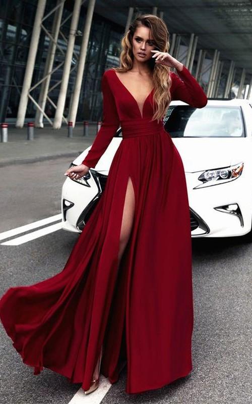 Chiffon Sheath Plunging Long Sleeve Floor Length Dress with Front Split