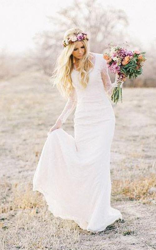 Long-Sleeve Sweep-Train Lace Short Column Zipper Cap Dress