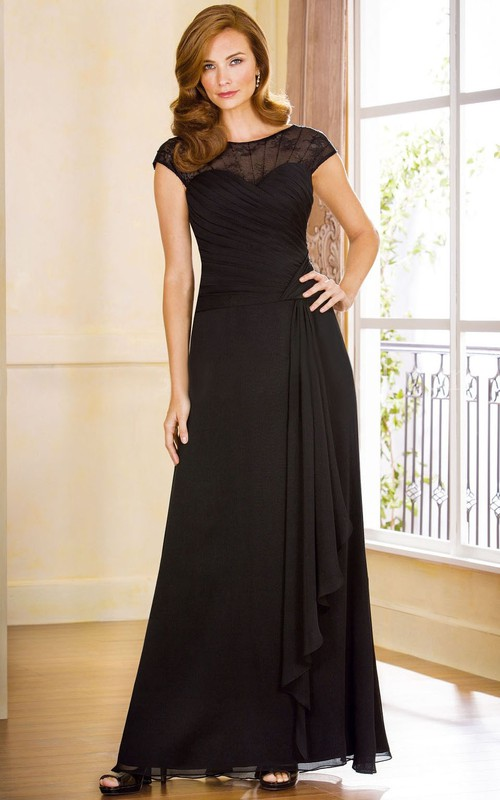 Bateau Cap-sleeve Chiffon Mother of the Bride Dress With Lace And Draping