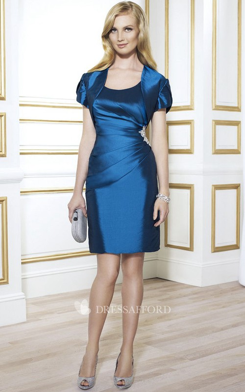 Satin Pencil short Mother of the Bride Dress With Split Back And cape