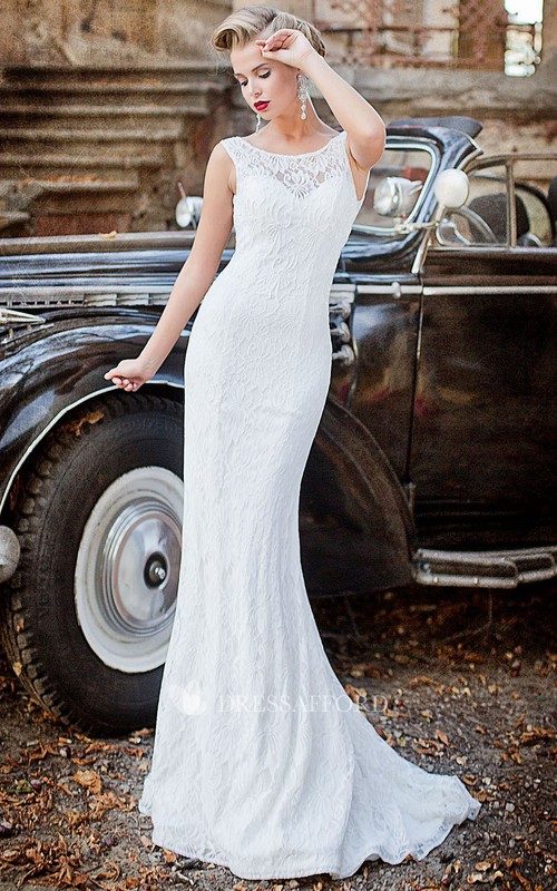 Jewel Lace Backless Brush Fishtail Pleated Sleeveless Gown