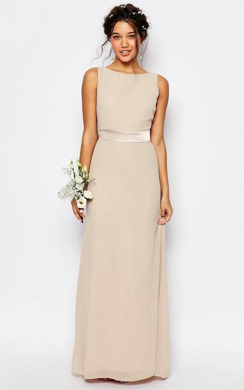 Floor-Length Sleeveless Bowed Bateau Neck Chiffon Bridesmaid Dress