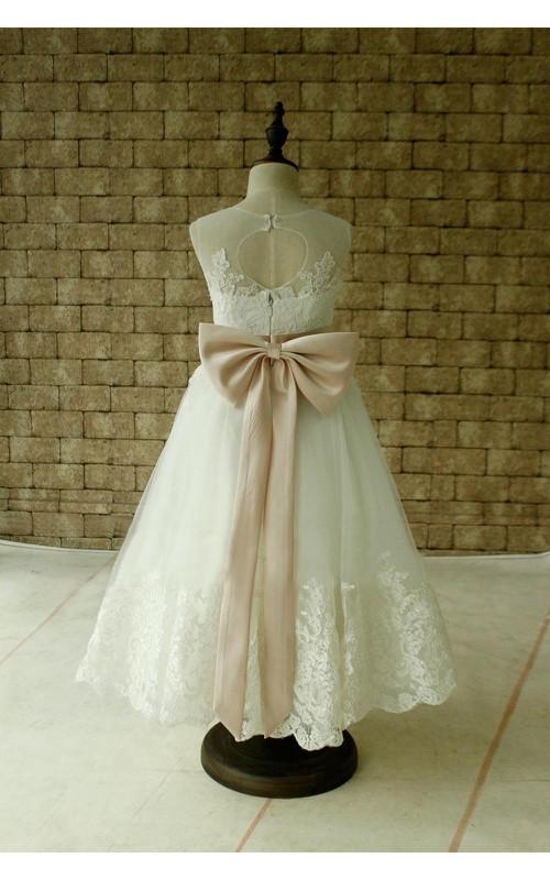 Applique Blush Satin Sash Bow High-Neckline Sleeveless Gown
