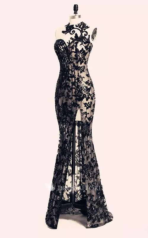 Bodycon Bateau Lace Sexy Modern Floor-length Sleeveless Open Back Zipper Lace Evening Dress