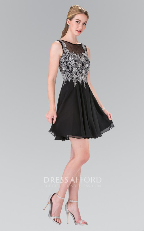 A-Line Deep-V-Back Pleated Appliqued Short Mini Sleeveless Bateau Chiffon Dress