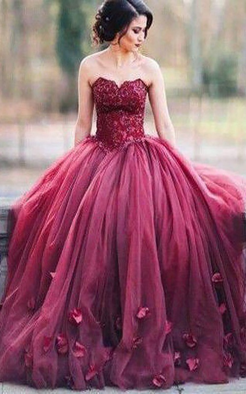 Sweetheart Lace Tulle Sleeveless Floor-length Appliques  Dress