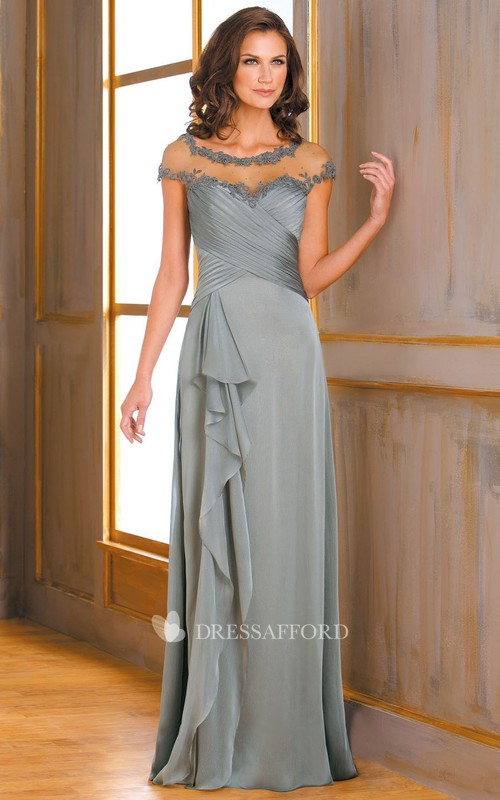 Ruffled Illusion Appliqued Neckline Long Cap-Sleeved Mother Of The Bride