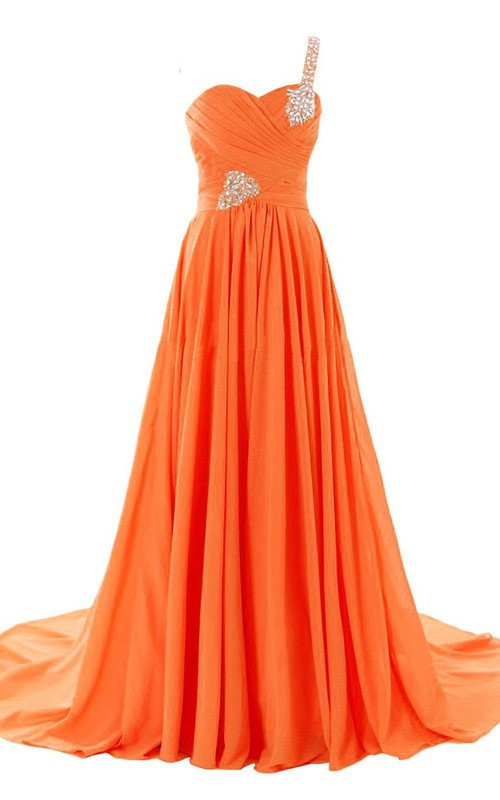 Ruched Rhinestoned Sweetheart One-Shoulder A-Line Gown
