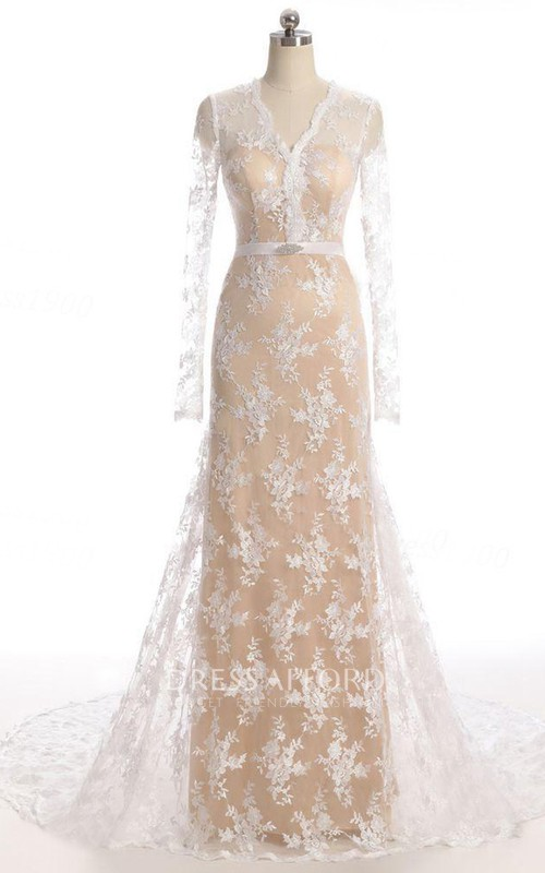 Court-Train Illusion Long-Sleeve Mermaid Lace Gown