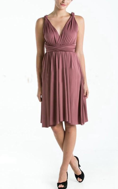 Bridesmaid Infinity Plum Straight Hem Knee Length Wrap Convertible Wedding Dress