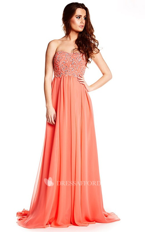 Sweetheart Chiffon Empire long Dress With Beading top And Corset Back