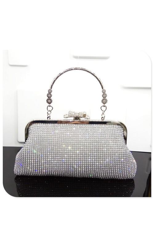 Charming Crystal Handbag with Circle Handle