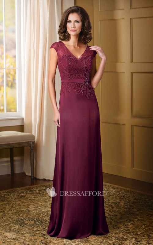 V-neck Cap-sleeve Sheath Jersey Dress With Lace And Beading