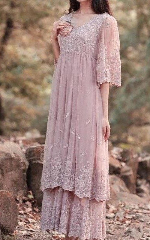 casual V-neck bell-sleeve Lace Empire Dress With Pleats And tiers