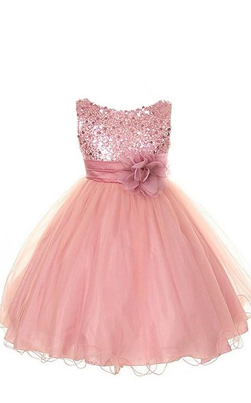 A-Line Floral Scoop-Neckline Sleeveless Sequined Dress