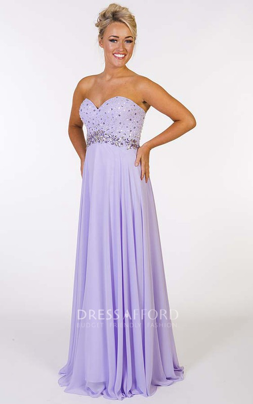 Sweetheart Criss cross Empire Beaded Dress With Corset Back