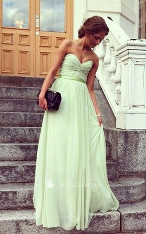 A-line Sweetheart Pleats Sleeveless Floor-Length Chiffon Prom Dresses