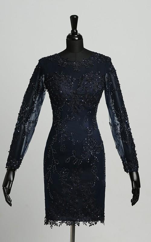 Bodycon Scoop Satin Long Sleeve Zipper Elegant Knee-length Dress with Appliques Sequins
