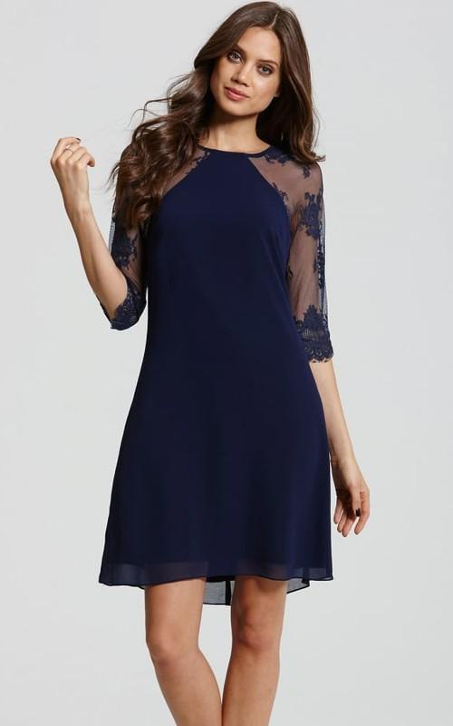 Bateau Illusion Half Sleeve Chiffon short Dress With Appliques
