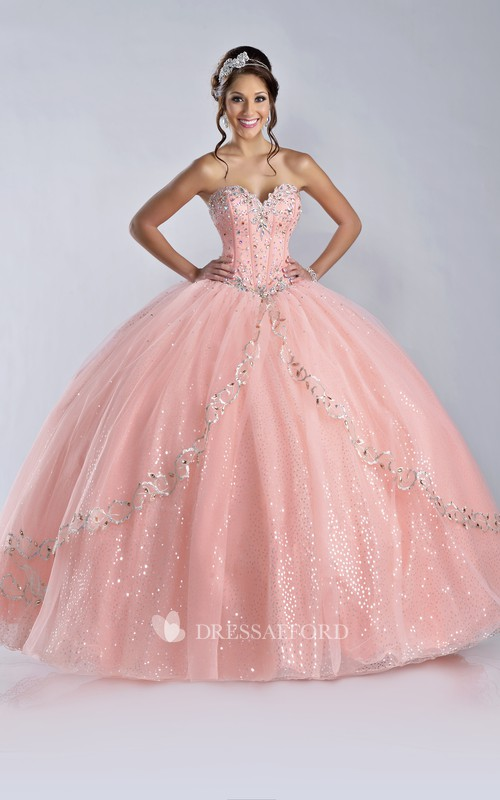 Sweetheart Ball Gown Sequined Dress With Beading And Corset Back