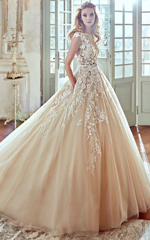 champagne Bateau Cap-sleeve Wedding Gown With Appliques And Chapel Train