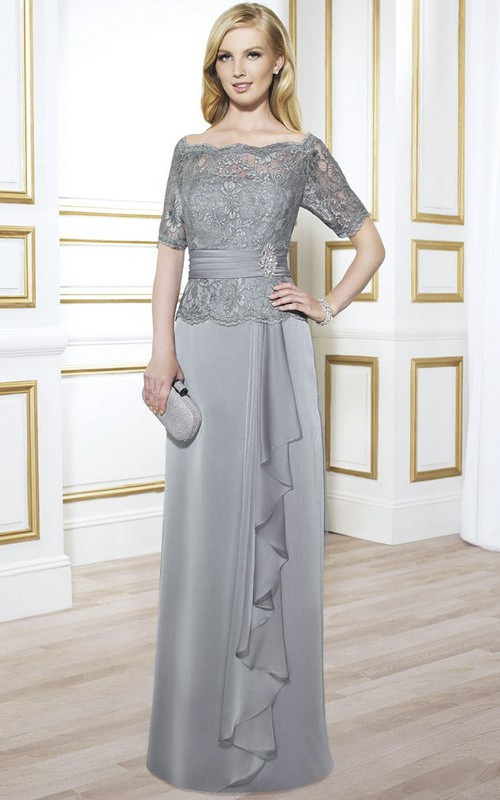 Bateau Short Sleeve draped Mother of the Bride Dress With Lace