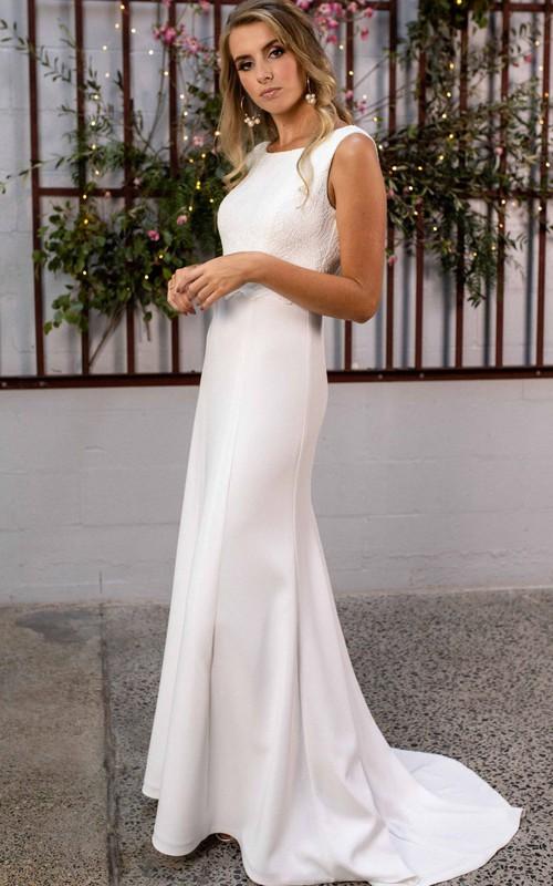 Elegant Bateau Sheath Satin Lace Floor-length Sweep Train Low-V Back Wedding Dress