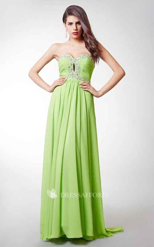 Ruched-Bodice Jeweled Empire Waist Two-Toned Alluring Dress