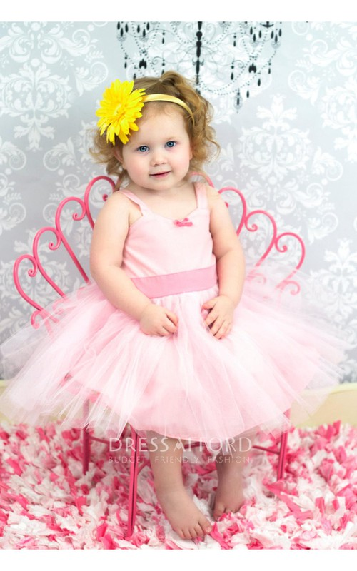 Tulle-Skirt Jersey Bodice Belt Sleeveless Cute Dress