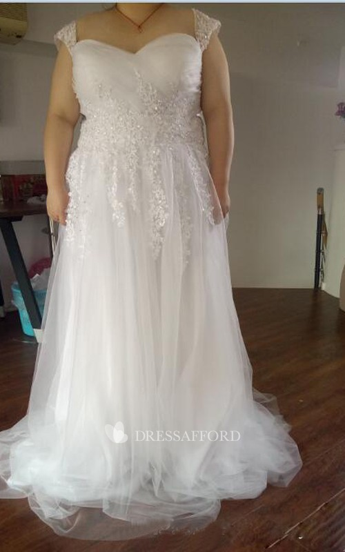 Queen Anne Lace Tulle Cap Short Sleeve Wedding Gown
