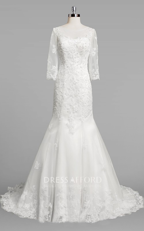 Lace Beaded Long-Sleeve Bateau-Neckline Dress