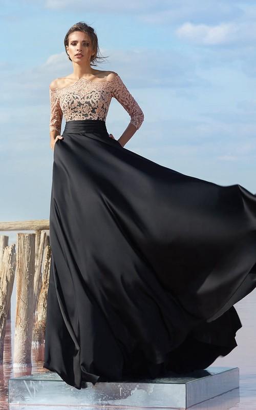 The-Shoulder Keyhole Floor-Length A-Line Chiffon Gown