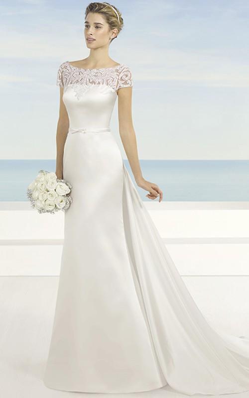 Bateau Long Short-Sleeve Appliqued Satin Wedding Dress