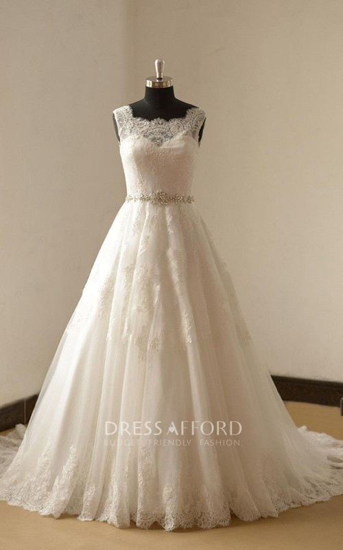 Lace Beaded Satin Sash Train A-Line Long Gown