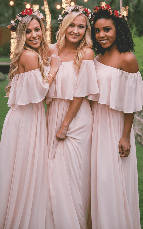 Adorable Off-the-shoulder Chiffon Bridesmaid Dress With Ruching And Pleats