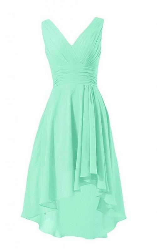 Chiffon Zipper Back V-Neckline Asymmetrical A-Line Dress